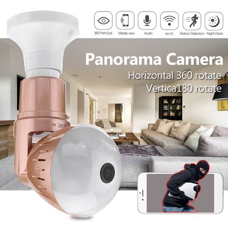 Lastest 360° Panorama Monitor Wifi Bulb Remote Cam Wireless Camera 1080P HD  Support Night vision Wi-Fi And Microphone TF Card Support App V380 Two-way voice IR-CUT Moniter