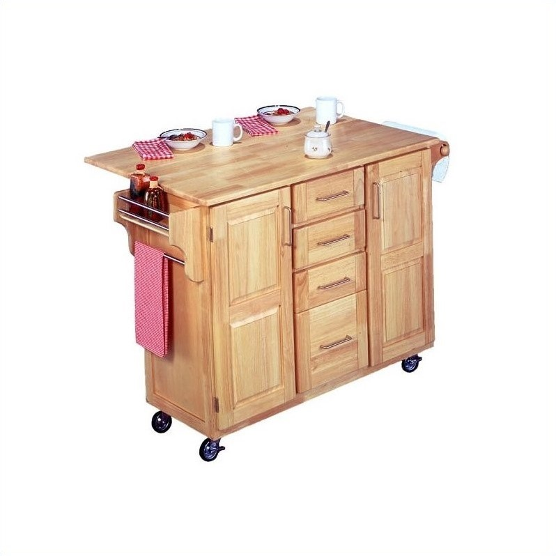 home styles natural breakfast bar kitchen cart with wood top