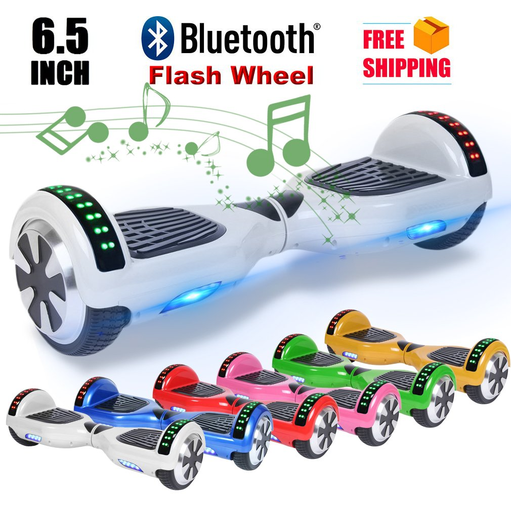 UL Certified Bluetooth Speaker 6.5 Inch Self Balancing Electric Scooter LED Electric Skate Board With Remote Controll US Plug
