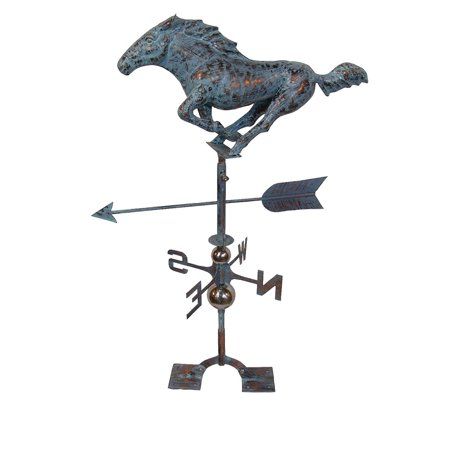 Large Copper Horse - Furniture Barn USA™ Large Handcrafted 3D Racing Horse Weathervane Copper Patina Finish