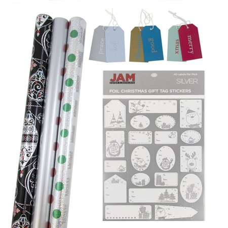 Jam Paper Gift Wrapping Bundle   Sterling Christmas   3 Rolls Of Wrapping Paper  62 5 Sq Ft    1 Pack Of Name Labels   1 Pack Of Gift Tags