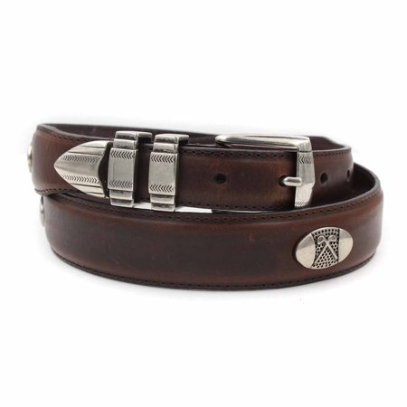 Danbury Golf Mens Club Conchos Top Grain Leather Belt (Brown, (Golf Concho Belts)