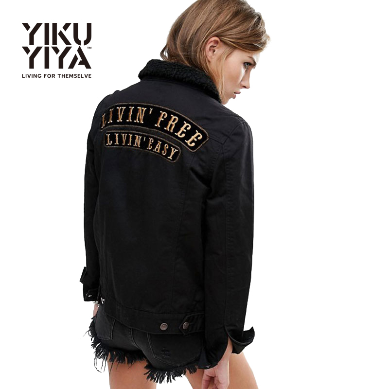 Women Bomber Jacket Solid Black Letter Embroidery Long Sleeve Single Breasted Elegant Spring Basic Jacket Coat