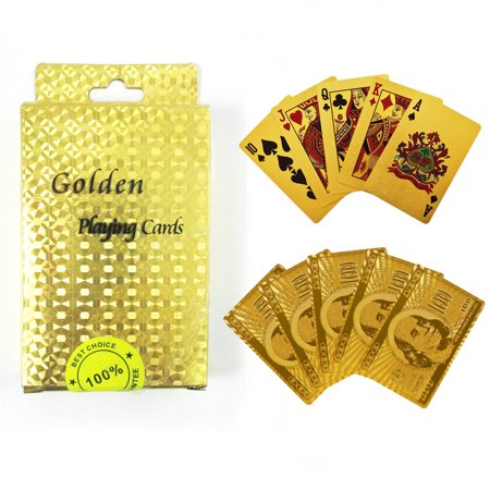- High Quality 24k Gold Foil Plated Card Deck Poker Playing Cards Spades US Dollar