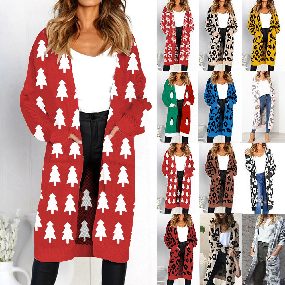 Mosunx Women Knitted Christmas Tree Print Long Sleeve Cardigan T-shirt Sweater Coat