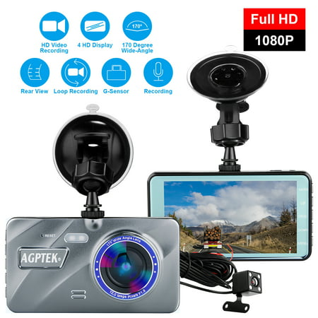 AGPtek Vehicle Video Recorder Dash Cam Night Vision Parking Monitor 1080P Car Dashboard DVR Camera G-Sensor Dash Camera