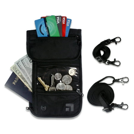 Slate Travel Neck Wallet - RFID Blocking Passport Holder - Waterproof Traveling Pouch - Includes 2 Different Sized Straps …
