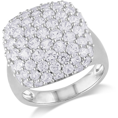 Miabella 4-3/4 Carat T.G.W. White Sapphire Cluster Ring in Sterling Silver