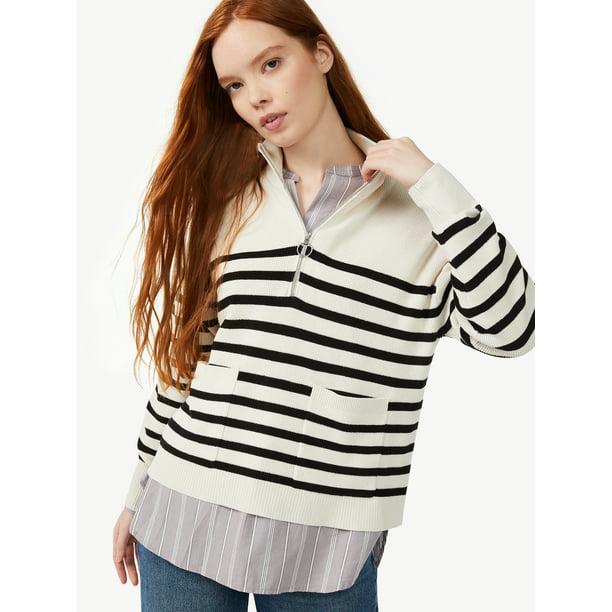 Free Assembly Women's Boxy Half-Zip Sweater