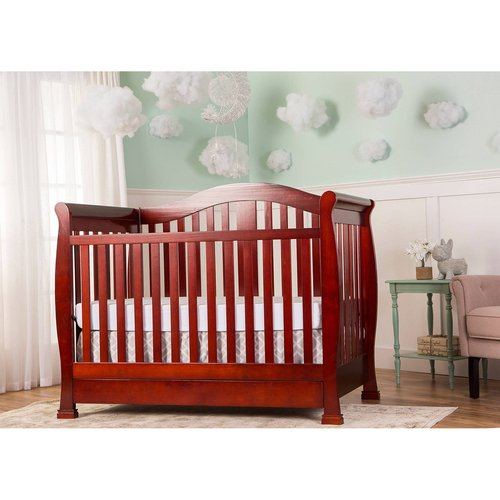 Dream On Me Addison 5-in-1 Convertible Crib with Storage Drawer, Cherry