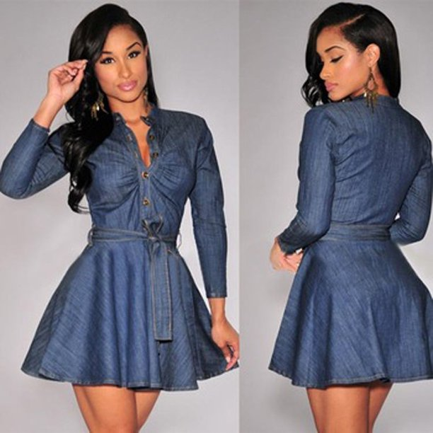 Women Slim Fit Denim Jean Dress Bowknot Belt Long Sleeve Shirt Dress Unique