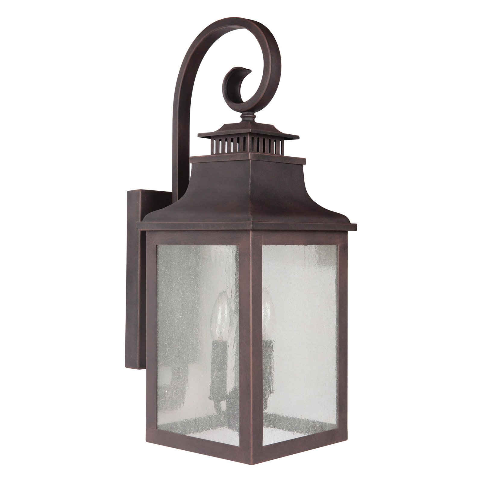 Y Decor EL2283RT Modern Transitional Traditional 2 Light Rustic Bronze Exterior Outdoor Light Fixture with Clear Seedy Glass Sma
