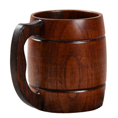 Stylish Wooden Handled Beer Cup Coffee Tea Juice Milk Wine Mug Gift Decoration Volume:301-400ml Style:handled ()