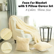 "Soft Decorative Long Shaggy Faux Fur Throw Blanket 50""x 60"" with 2 pcs 18"" x 18?""Pillow Covers Set for Couch,Camel Color"