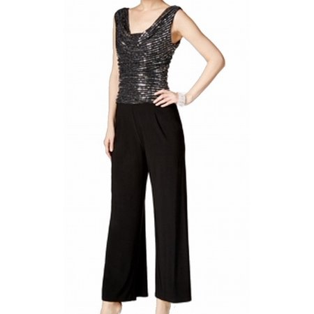 Womens Bell Bottom Sequined Jumpsuit 10
