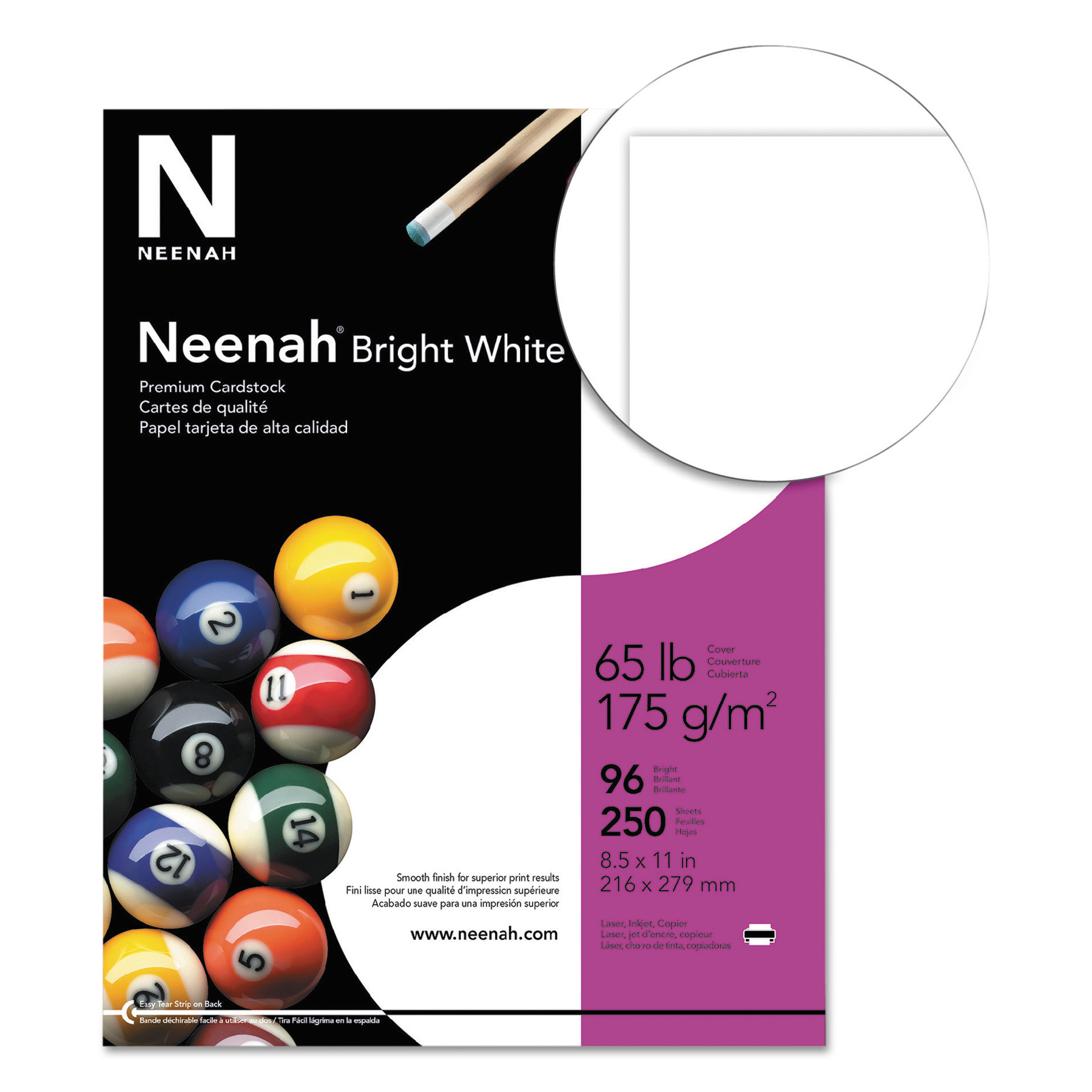 Neenah Bright White Card Stock 65lb 96 8 1 2 X