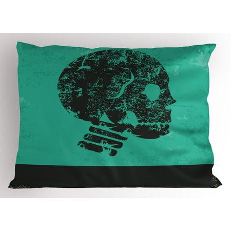 Skull Pillow Sham Human Skeleton Theme Abstract Art Skull Design Illustration Artwork Print, Decorative Standard King Size Printed Pillowcase, 36 X 20 Inches, Jade Green and Black, by - King Jaffe