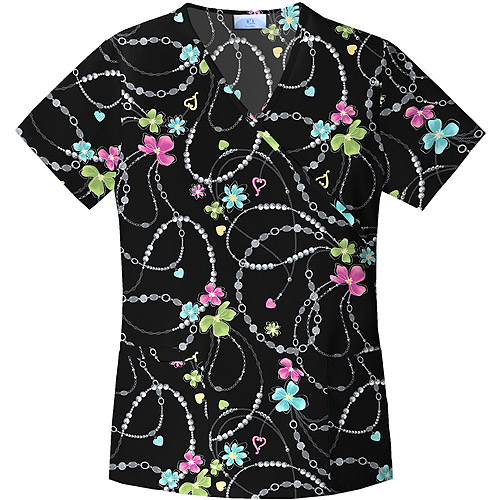 Blooms And Bling Mock Wrap Top