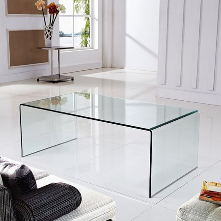 Costway Tempered Glass Coffee Table Accent Cocktail Side Table Living Room Furniture
