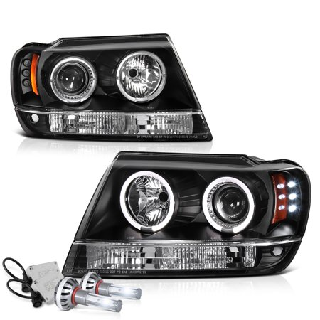 [For 1999-2004 Jeep Grand Cherokee] LED Halo Ring Projector Headlight Headlamp Assembly, Driver & Passenger Side