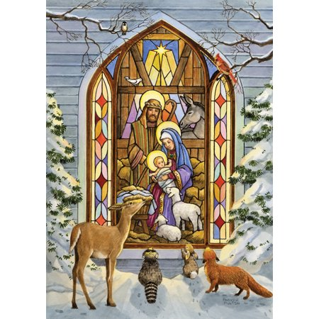 Stained Glass Nativity (Card-Boxed-Stained Glass Nativity w/Deer (Box Of)
