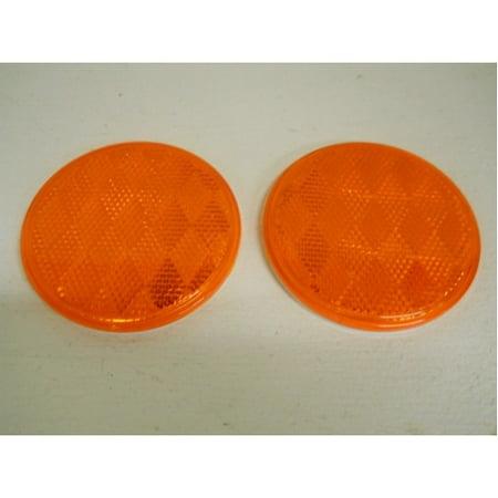 "(2) Amber 3"" Round Truck Semi Trailer Mail Box Reflex Reflectors / Adhesive Back"