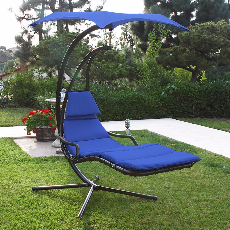 Patio Swing Chair Lounger Hammock Sun Canopy Blue