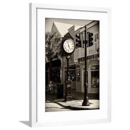 Old Clock - Key West - Florida Framed Print Wall Art By Philippe -