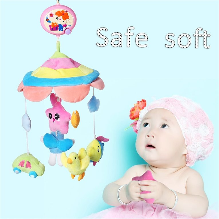 Hot Sale Updated Baby Musical Crib Mobile Bed Bell Rattle Hanging Rotating Bracket Project Toys,multicolor