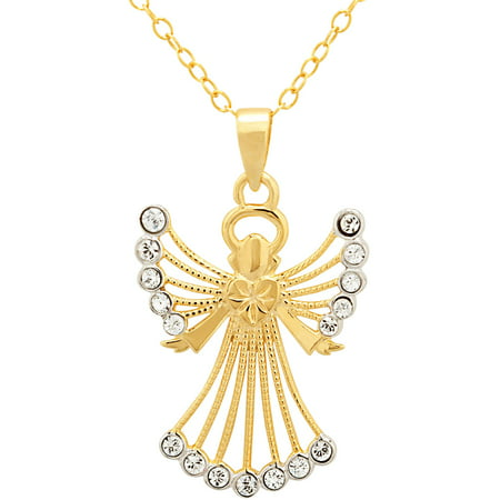 18kt Gold over Sterling Silver Angel Pendant made with Swarovski Elements, 18