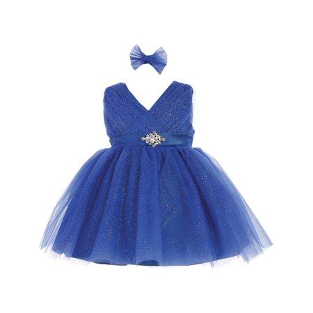 Baby Girls Royal Blue Glitter Tulle Rhinestone Brooch Flower Girl Dress