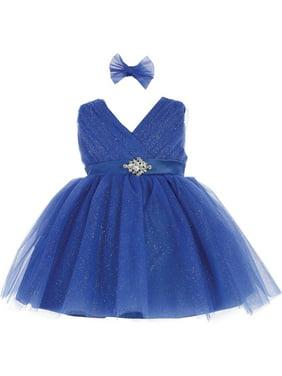 9bdeee8b4652 Product Image Baby Girls Royal Blue Glitter Tulle Rhinestone Brooch Flower  Girl Dress. Tip Top Kids