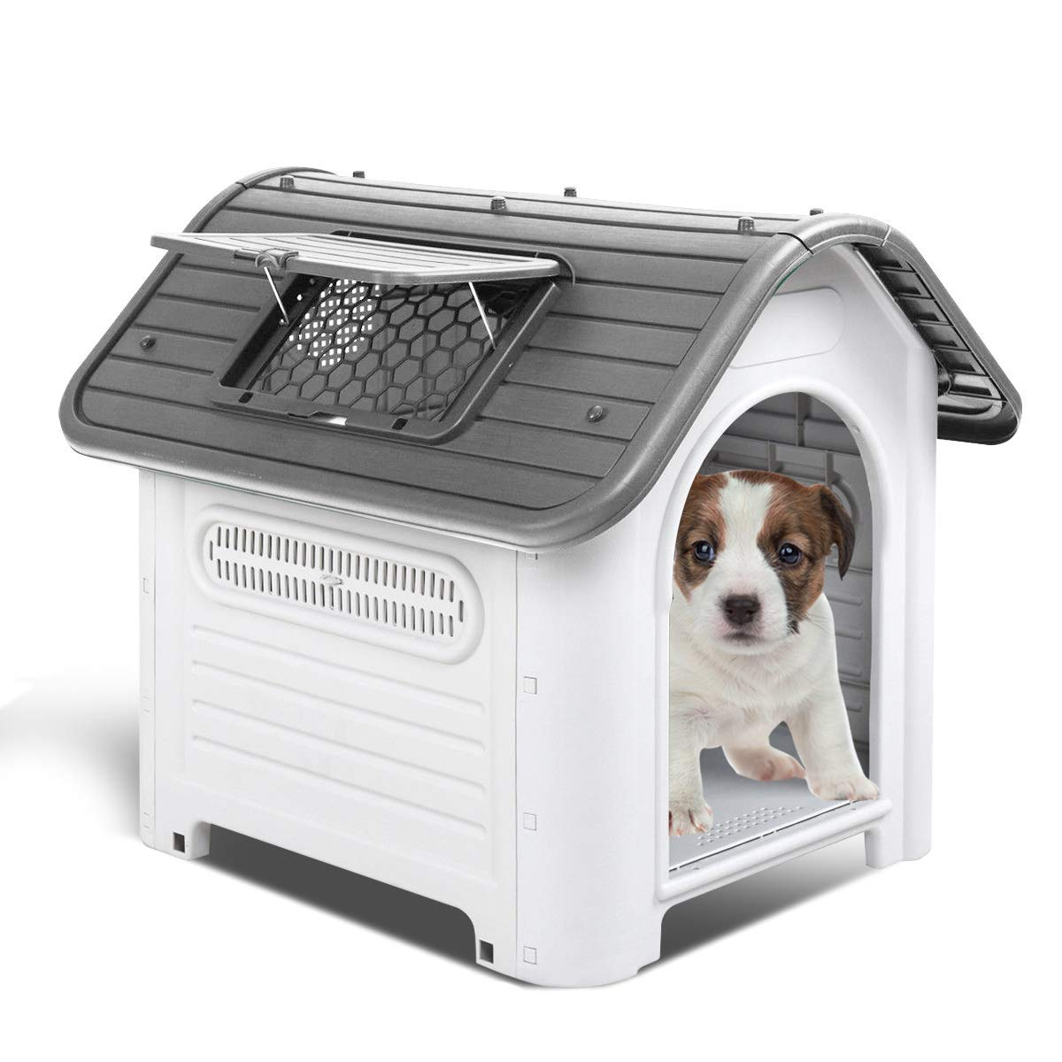 Up to 40 lbs Waterproof Plastic Dog Cat Kennel Puppy House Outdoor Pet Shelter Skylight Grey