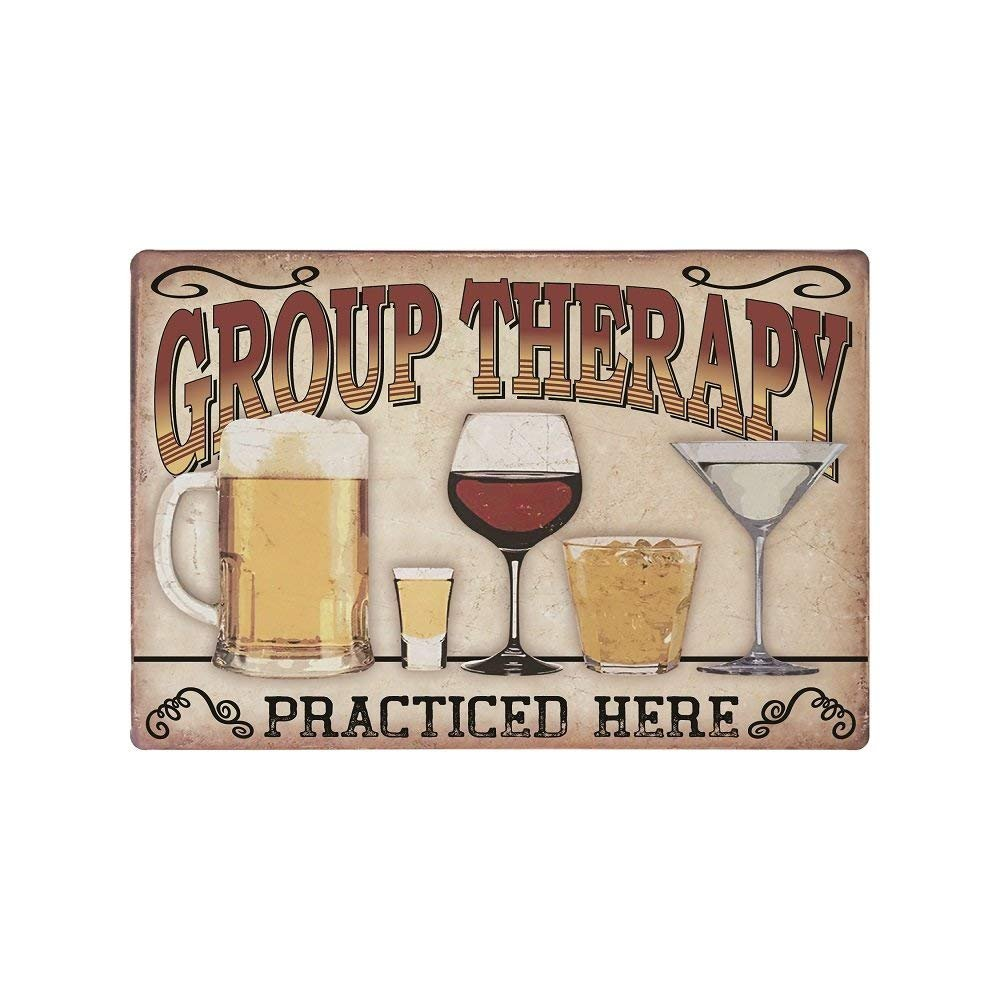 Decorative Kitchen Signs, Metal 9x12 Wall Signs, \'Group Therapy Practiced  Here\' Kitchen Signs, Vintage Wall Decor for Home & Kitchen, Funny Metal  Wall ...