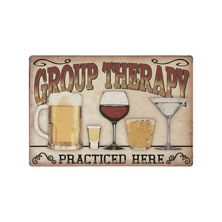Decorative Kitchen Signs, Metal 9x12 Wall Signs, 'Group Therapy Practiced Here' Kitchen Signs, Vintage Wall Decor for Home & Kitchen, Funny Metal Wall Decor, Funny Kitchen Decor, Vintage Home (Funny Sign)