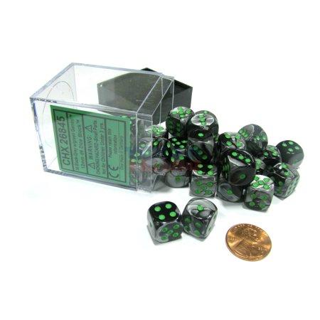 Chessex Gemini 12mm D6 Dice Block (36 Dice) - Black-Grey with Green #26845