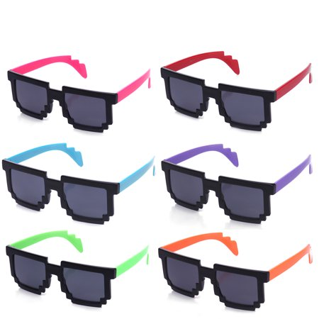 Newbee Fashion Kyra 8-Bit Retro 80's Video Game Colored Templed Party Sunglasses - 8 Bit Sunglasses