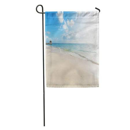 KDAGR Scene Serenity Beach Shore Sand Sea Summer Holiday Scenery Coast Garden Flag Decorative Flag House Banner 12x18 inch