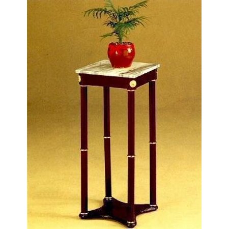 Cherry Finish Wood Square Style Plant Stand with Marble Table Top, New Square Plant End Table Marble+Cherry Wood By AtHomeMart