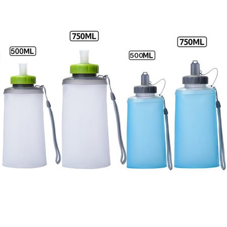 Collapsible Reusable Water Bottle by Viugreum - Silicone Foldable with Leak Proof Twist Cap - BPA Free ,500ML OR 750ML - Small Reusable Water Bottles