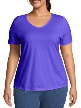 Just My Size Women's Plus Size Short Sleeve V-Neck Tee
