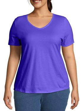 Women's Plus Size Short Sleeve V-Neck T-shirt