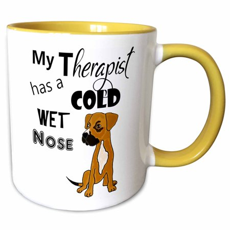 3dRose Fun My Therapist has a Cold Wet Nose Boxer Mix Rescue Dog - Two Tone Yellow Mug, (My Dog Has A Cold Wet Nose)