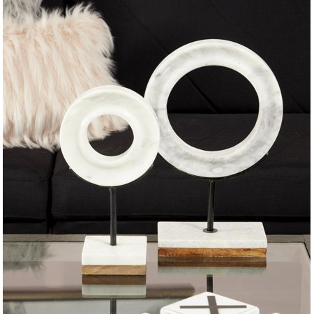 "- CosmoLiving Natural Wood & White Marble Modern Sculpture Table Decor | 6"" x 11"""
