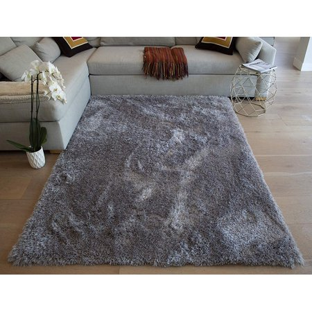 Weaver Fluffy Shag Shaggy Solid Modern Large Rectangle Deep Plush Pile Custom Contemporary 8-Feet-by-10-Feet Polyester Made Area Rug Carpet Rug Gray Grey Color ()