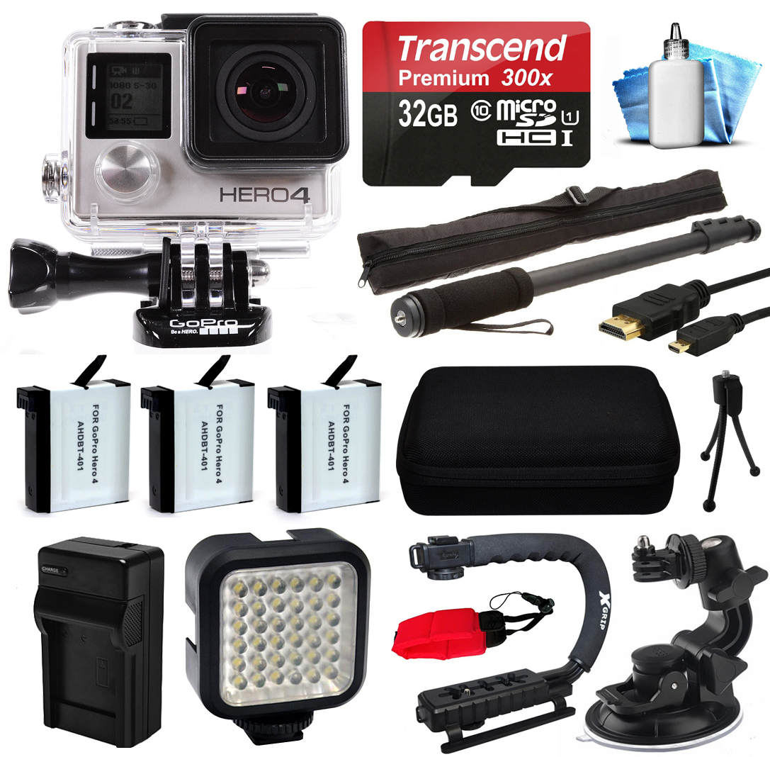GoPro HERO4 Hero 4 Black Edition 4K Action Camera Camcorder with 32GB MicroSD Card, 3x Battery with Charger, Opteka X-Grip, LED Light, Car Mount, HDMI Cable, Selfie Stick, Case, Cleaning Kit CHDHX-401