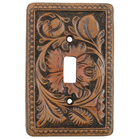 Tooled Leather Lodge Single Switch Plate Cover - Rustic Decor ()