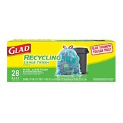 Glad Large Drawstring Recycling Bags - 30 Gallon Blue Trash Bag - 28 Count (Package May Vary)