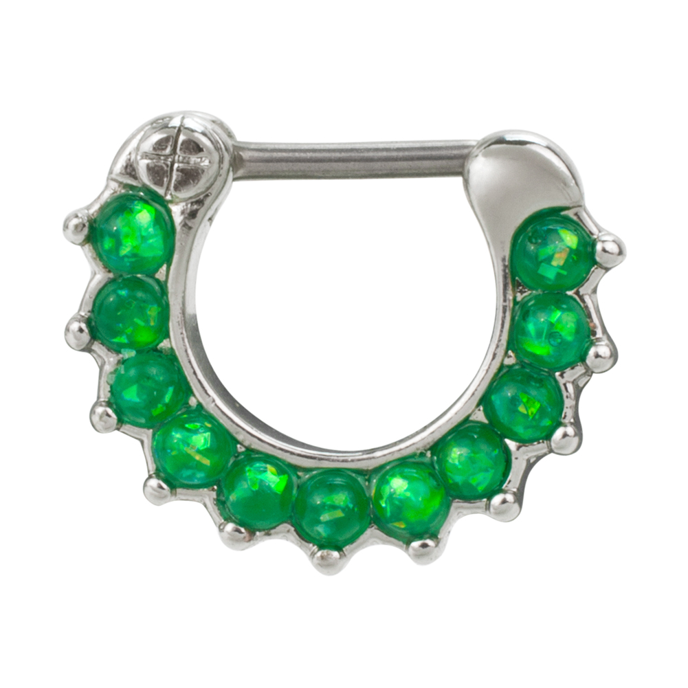 Bold Steel 16G 1.2mm Created Opal Paved Stainless Steel Septum Clicker, GREEN, 1006-GRN