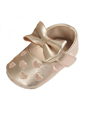 Toddler Baby Prewalker Shoes Girl Princess Bowknot Soft Sole Crib Shoes 0-18M